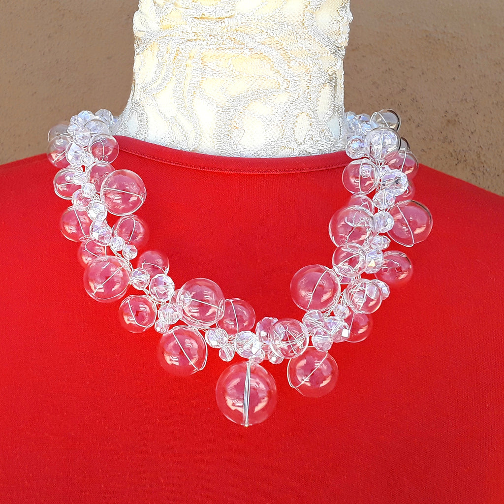 Hand Blown Glass & Crystal Twisted Wire Statement Necklace - Unique Bubble Bib Gift for Her