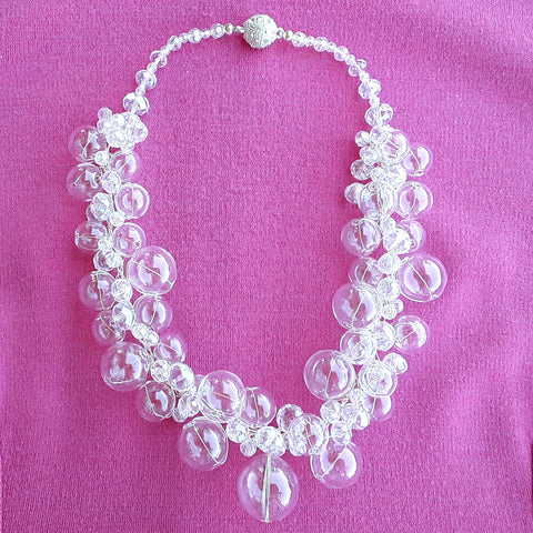 Bridal Hand Blown Glass and Crystal Twisted Wire Statement Necklace - Unique Gift for