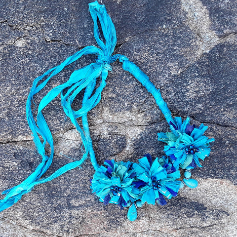 Boho Turquoise Sari Silk Ribbon Flower Statement Necklace - Gypsy Style Gift for Her