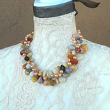 Chunky Semi Precious Stone Statement Necklace,  Unique Twisted Wire Gemstone Necklace