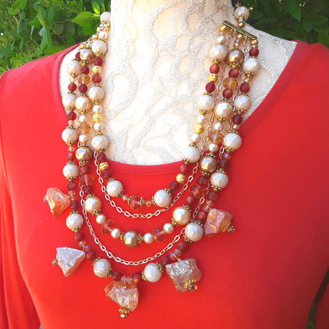 Bronze Quartz and Pearl Statement Necklace, Healing Quartz Chunky Necklace, Stone Statement Bib