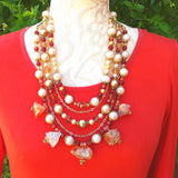 Bronze Quartz and Pearl Statement Necklace, Chunky Colorful Multi-strand Collar, Gift for Her