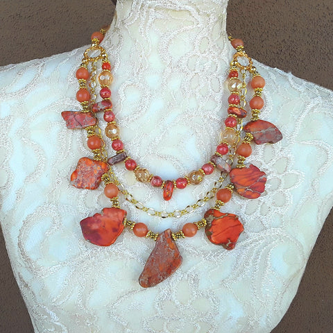 Orange Jasper Slab Multi-Strand Statement Necklace - Iris Apfel Inspired - Gift for Her