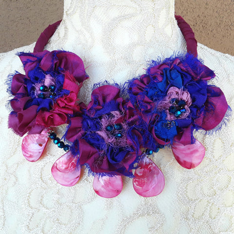 Shell Sari Ribbon Flower Multi-Strand Statement Necklace - Colorful Upcycled Boho Gift for Her
