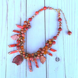 Chunky Semi Precious Stone Statement Necklace, Unique Twisted Wire Jasper Necklace