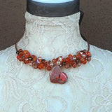 Cluster Burnt Orange Twisted Wire Jasper & Crystal Choker Set - Unique Gift for Her
