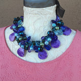 Purple Super Chunky Statement Necklace, Mother of the Bride Bib, Gift for Her