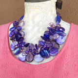 Purple Colorful Chunky Cluster Statement Necklace, Unique Gift for Her, Mother of the Bride Bib