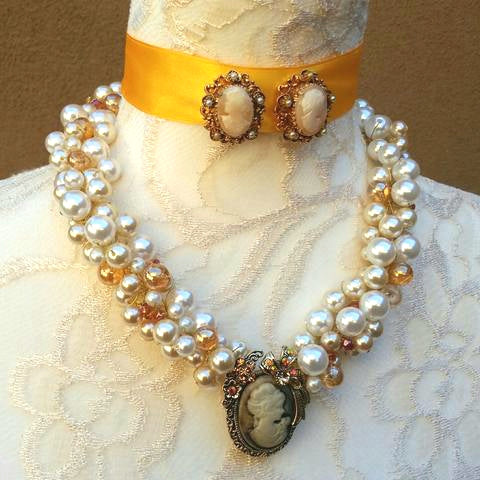 Bridal Cameo Statement Necklace Set, Pearl & Crystal Vintage Chunky Collar, Gift for Her