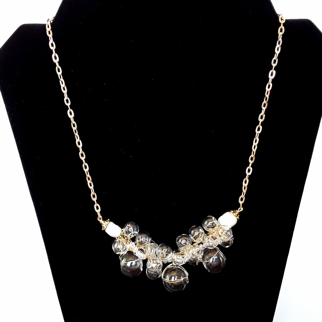 Bridal Clear Blown Glass Statement Necklace in Gold or Silver - Twisted Wire Cluster Bib