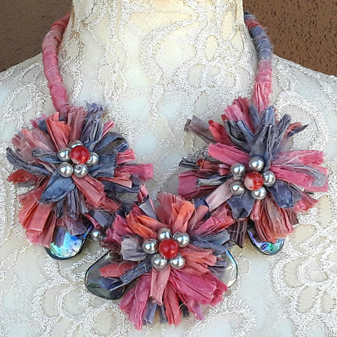 Abalone Shell Sari Ribbon Flower Multi-Strand Statement Necklace - Colorful Upcycled Boho Gift for Her