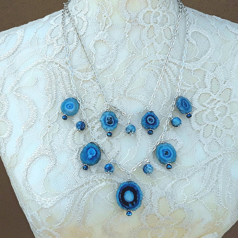 Blue Solar Quartz Multi Strand Statement Necklace, Unique Colorful Gemstone Gift for Her