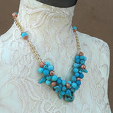 Unique Turquoise Gemstone Statement Necklace - One of a Kind Cluster Wire Gift for Her