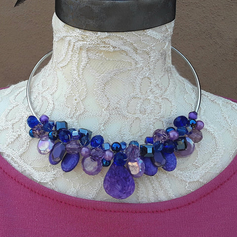 Purple Cluster Statement Wire Choker Set - Unique Holiday Crystal Necklace