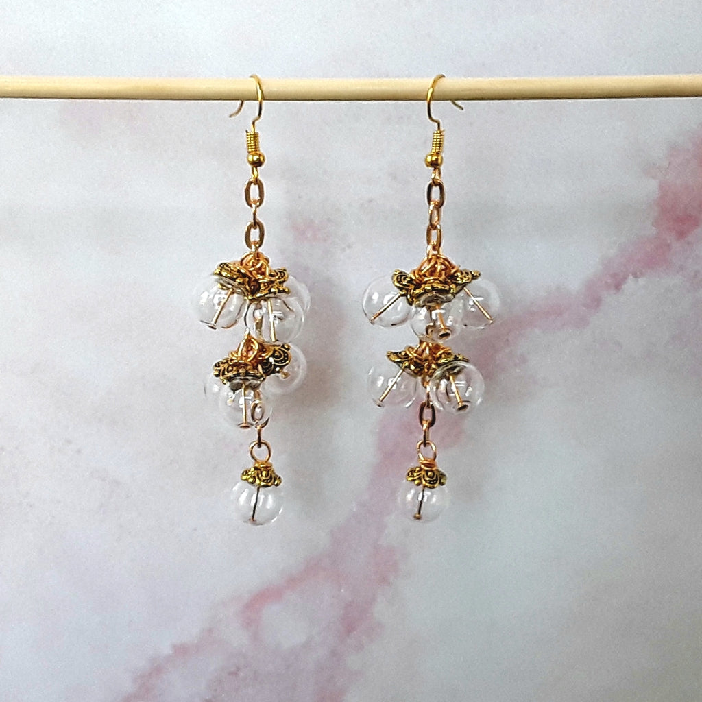 Clear Glass Bubble Chandelier Earrings in Gold or Silver - Unique Bridal Statement Dangles