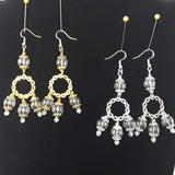 Unique Clear Glass Bubble Chandelier Earrings in Tibetan Silver or Gold Plated - Unique Bridal Statement Long Dangles