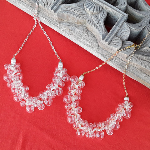 Clear Blown Glass Bridal Statement Necklace in Gold or Silver Plated - Twisted Wire Cluster Bib