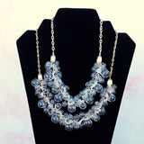 Clear Blown Glass & Crystal Statement Necklace in Gold or Silver Plated - Twisted Wire Cluster Bib