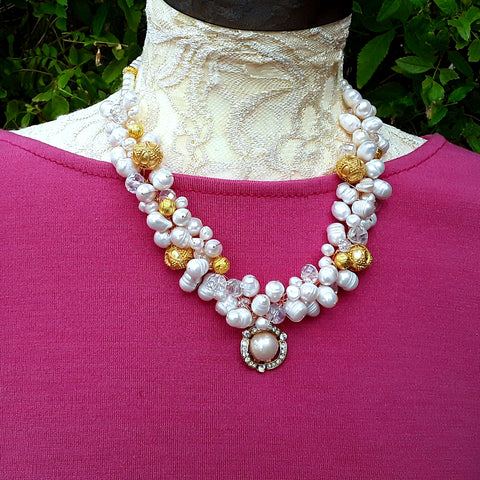 Freshwater Pearl Designer Inspired Vintage Statement Necklace - Unique Chunky Gift for Her