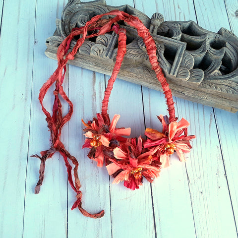 Burnt Orange Boho Flower Silk Ribbon Statement Necklace - Unique Gypsy Style Gift for Her