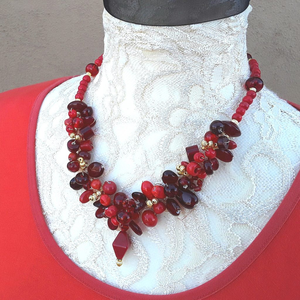 Unique Red Cluster Statement Necklace - Chunky Holiday Gift for Her - Colorful Twisted Wire Collar