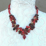 Red Designer Inspired Unique Statement Cluster Necklace - Chunky Gift for Her