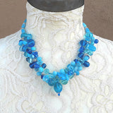 Blue Designer Inspired Unique Statement Cluster Necklace - Chunky Colorful Gift for Her