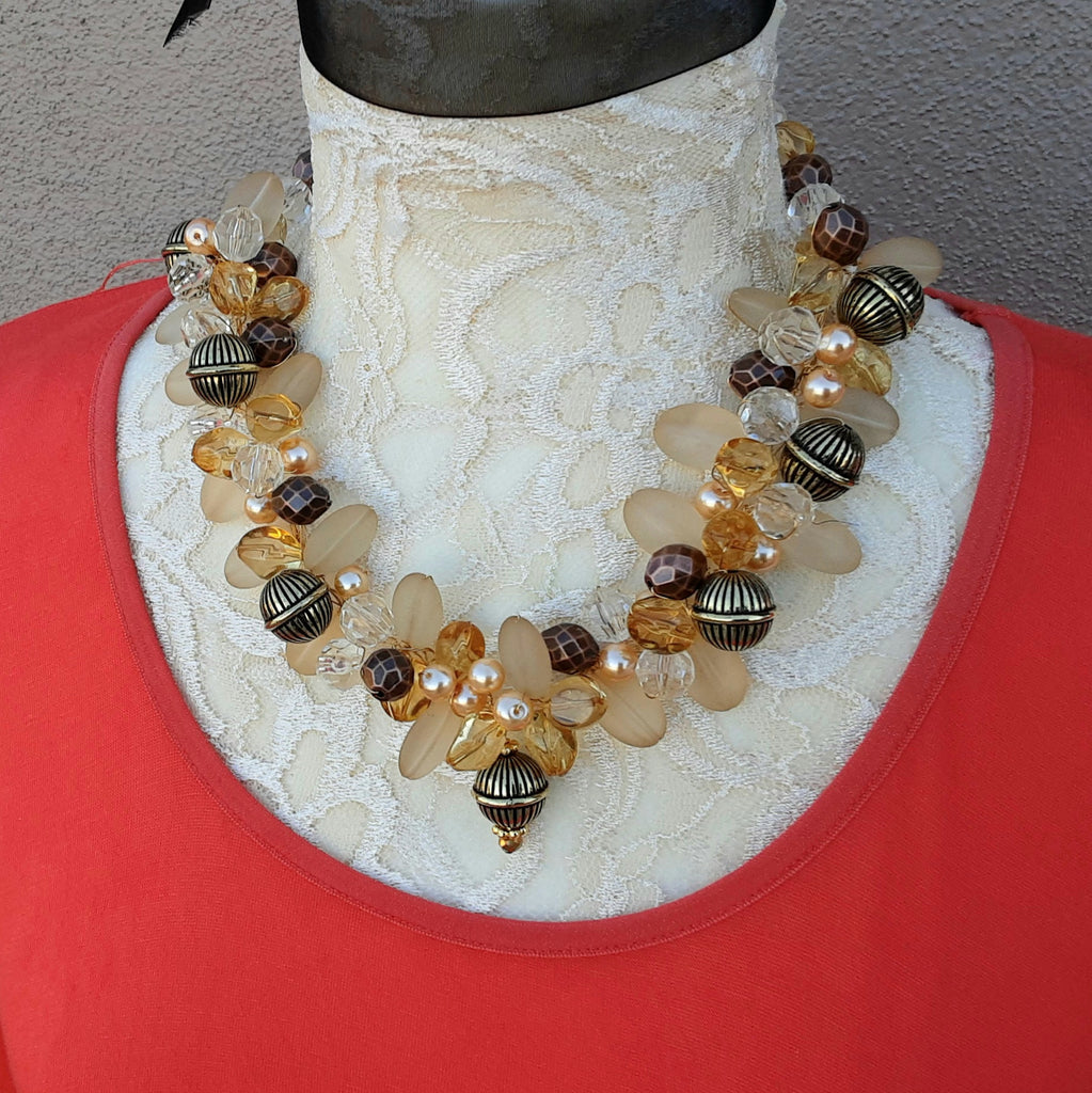 Unique Pearl Cluster Statement Necklace  - Mother of the Bride Jewelry - Chunky OOAK Gift for Her