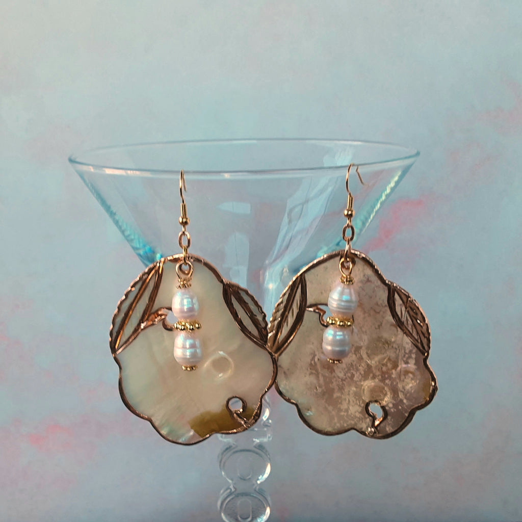Giant Blister Pearl Shell Statement Earrings - Unique Gift for Her