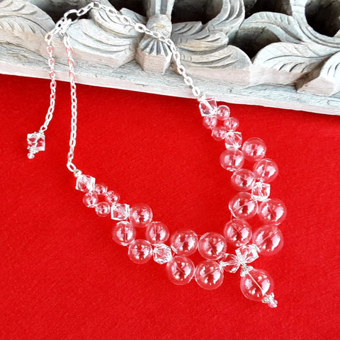 Clear Hand Blown Glass & Crystal Bubble Statement Necklace - Unique Bridal Collar - Gift for Her