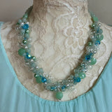 Glass Bubble & Pearl Twisted Wire Statement Necklace - Unique Colorful Cluster Collar - Gift for Her
