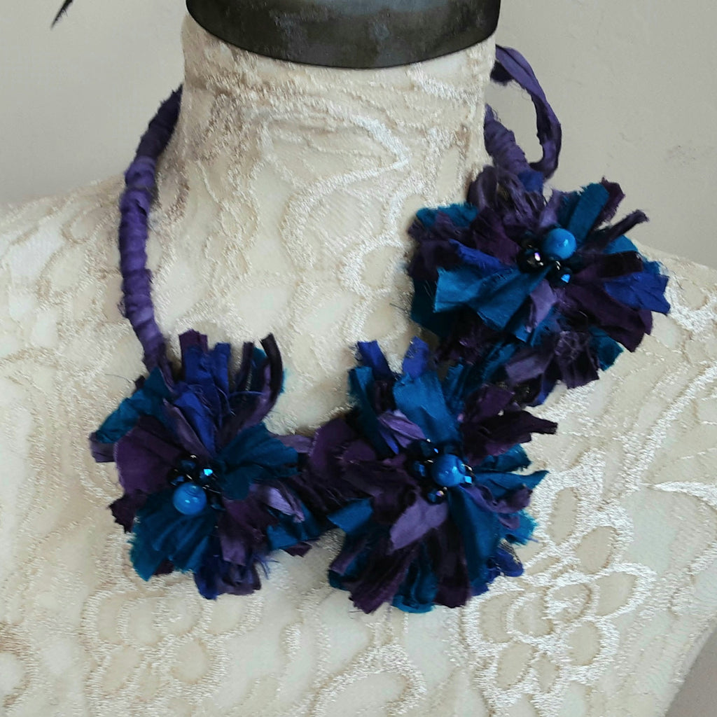 Boho Purple Flower Ribbon Statement Necklace, Recycled Sari Silk Bib, OOAK Statement Necklace