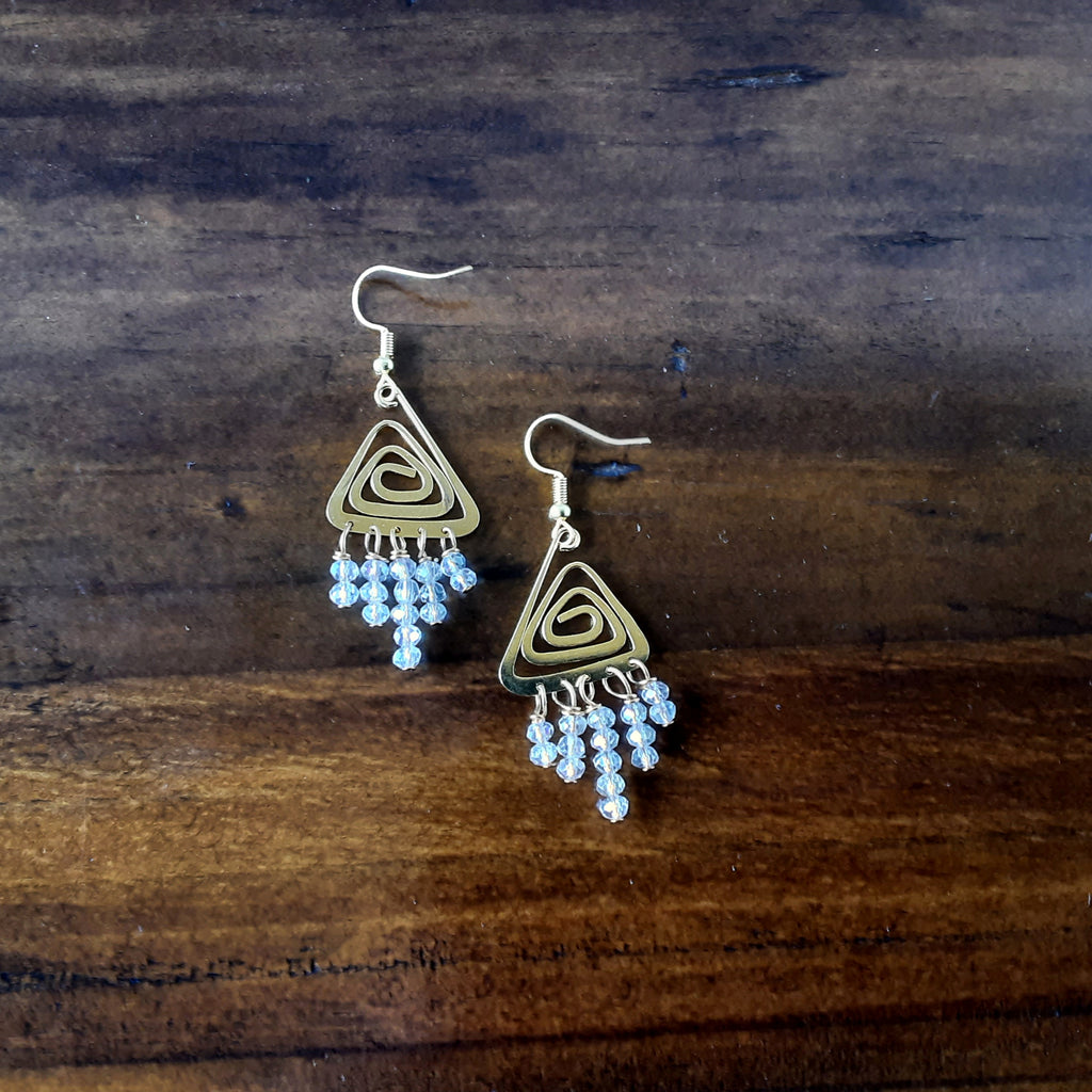 Unique Chrystal Chandelier Earrings in Silver or Gold Plated - Bridal Modern Statement Dangles