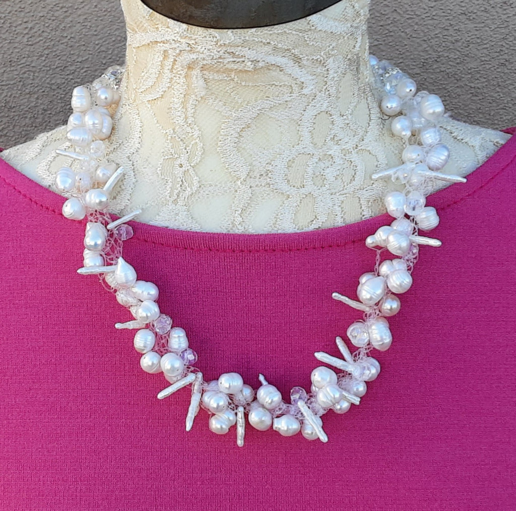 Freshwater Pearl Statement Necklace, Bridal Jewelry, Unique Crocheted Gift for Her