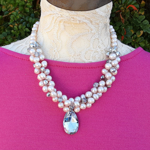 Freshwater Pearl Designer Inspired Statement Necklace - Chunky Gift for Her - Unique Bridal Jewelry