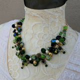 Unique Twisted Wire Chunky Statement Necklace in Irish Green - One of a Kind Mother of the Bride Bib