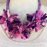 Violet Sari Silk Ribbon Flower Statement Necklace - Gypsy Style Gift for Her - Upcycled Jewelry