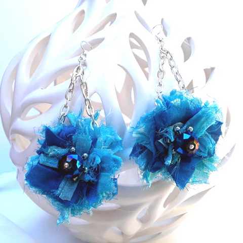 Turquoise Sari Silk Ribbon Dangle Flower Statement Earrings - Boho Fabric Earrings