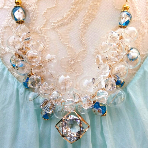 Clear Hand Blown Glass and Crystal Bridal Statement Necklace, Romantic OOAK Gift for Her
