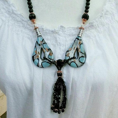 Murano Glass Pendant Tassel Statement Necklace, Handmade Glass Sautoir, Long Statement Necklace