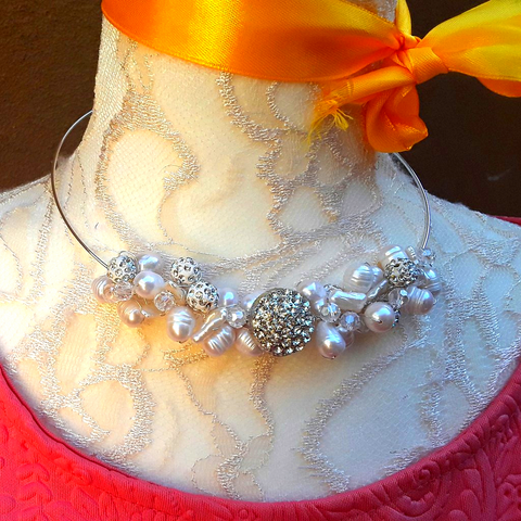 Vintage Button,  Pearl and Crystal Statement Wire Choker Set - Unique Bridal Beaded Necklace
