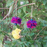 Jewel Tone Fuzzy Sari Silk Ribbon Dangle Flower Statement Earrings - Boho Fabric Earrings