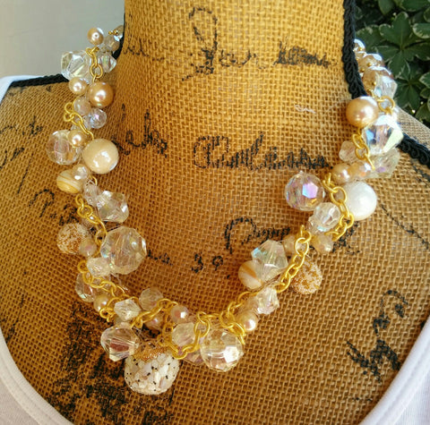 Crystal & Pearl Bridal Crocheted Artisan Statement Necklace, Unique Multi-Strand Artisan Necklace