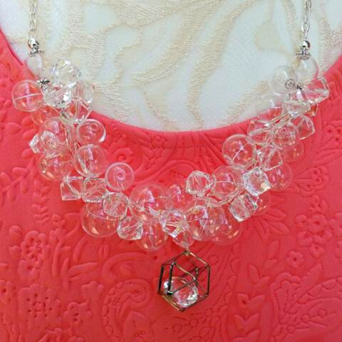 Hand Blown Clear Glass Bubble and Crystal Pendant Statement Necklace, Unique Gift for Her