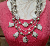 White Turquoise Boho Multi-Strand Statement Necklace with the Iris Apfel Wow Factor!