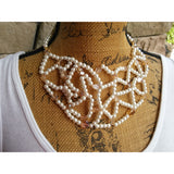 Pearl and Crystal Bridal, Handmade Statement Necklace