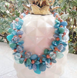 Turquoise Statement Necklace, Colorful Chunky Collar, Mother of the Bride Collar, Gift for Mom