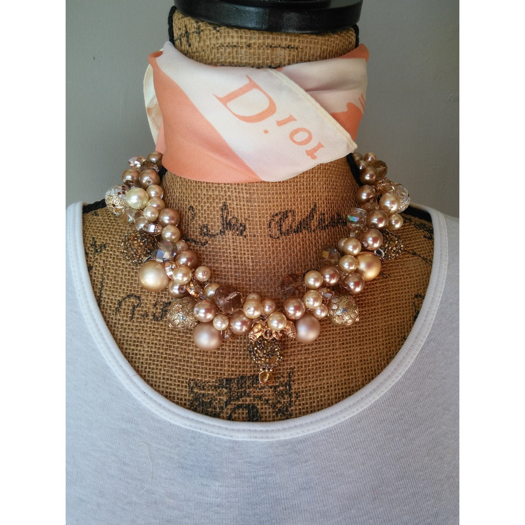 Bridal Pearl Statement Necklace, Handmade, Chunky, Bib, Collar, Twisted Wire Wrapped Necklace