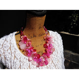 Pink Twisted Statement Necklace, Bold Chunky Necklace, Statement Collar, Bib Necklace