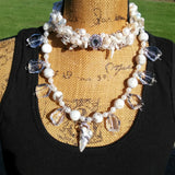 Freshwater Pearl Choker, Pearl Multi-Strand Statement Necklace, Crystal Sautoir